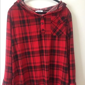 Tops - Hooded plaid shirt (2 for $20)